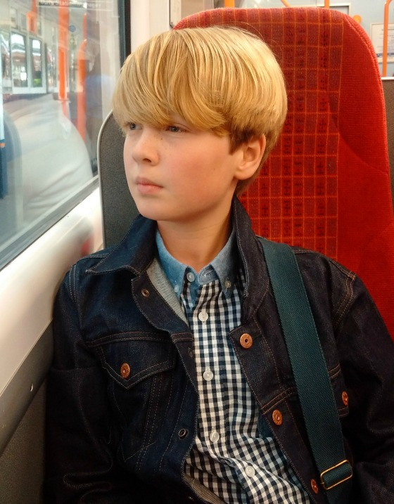 Barnaby on the train to London